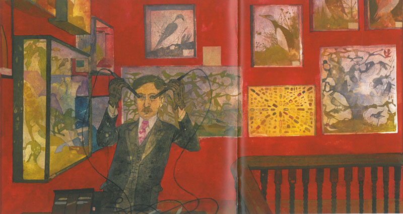 Artist Rosoman's portrait of Overbeck, as he demonstrates his Electrical Rejuventor upon himself. Image courtesy of the National Trust