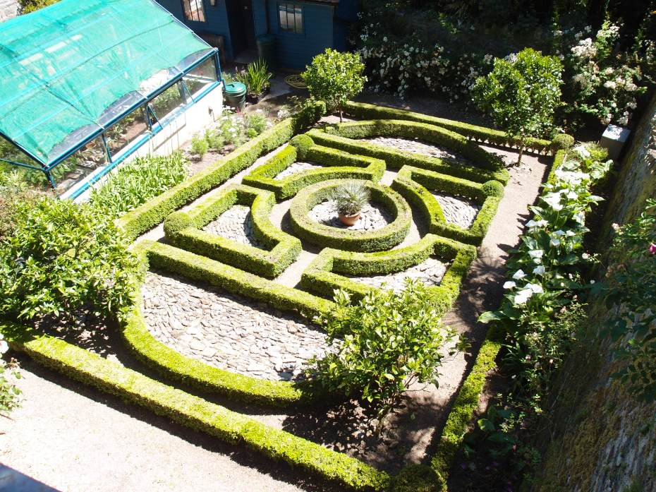 Another view of the Parterre. Orange and Lemon trees anchor the corners of this garden.