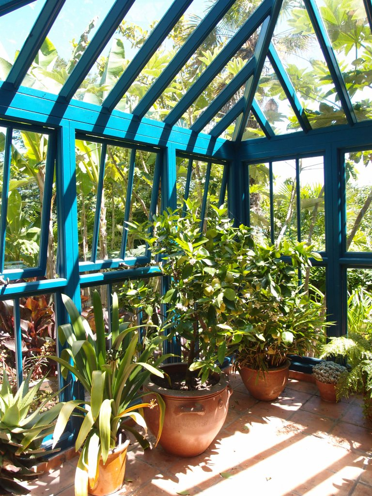 The Banana Garden's Greenhouse: painted in Overbeck's Signature Blue.