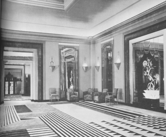 Oswald Milne's most acclaimed Art Deco interiors were designed for Claridge's Hotel. This photo taken in the 1930s.