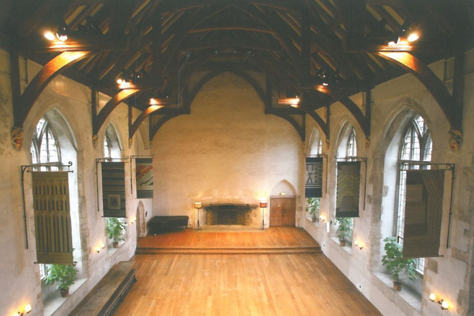 Inside the Great Hall. In 1925, when the Elmhirsts bought Dartington, only the walls of the Great Hall remained standing. Over the next 10 years, all of the Courtyard buildings were restored. Image courtesy of Dartington Hall.