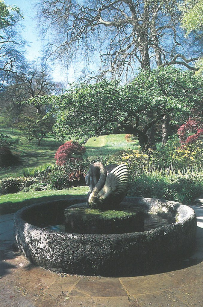 Swan Fountain, in Springtime, when Beatrix Farrand's Woodland shrubs begin to flower. Image courtesy of Dartington Hall.