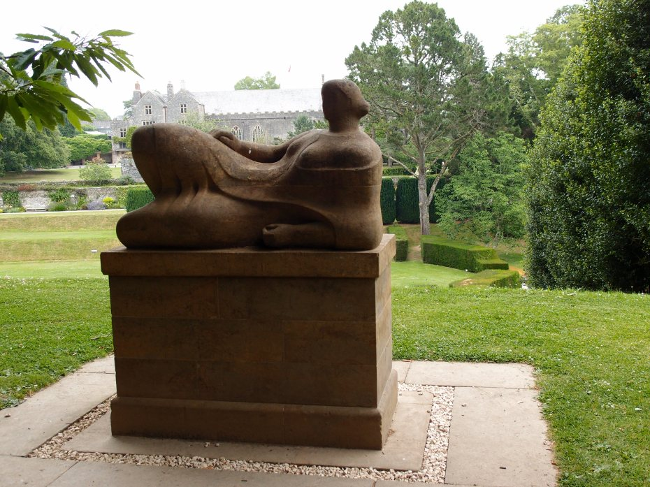 Henry Moore's RECLINING FIGURE lounges above the southwest corner of the Tiltyard.