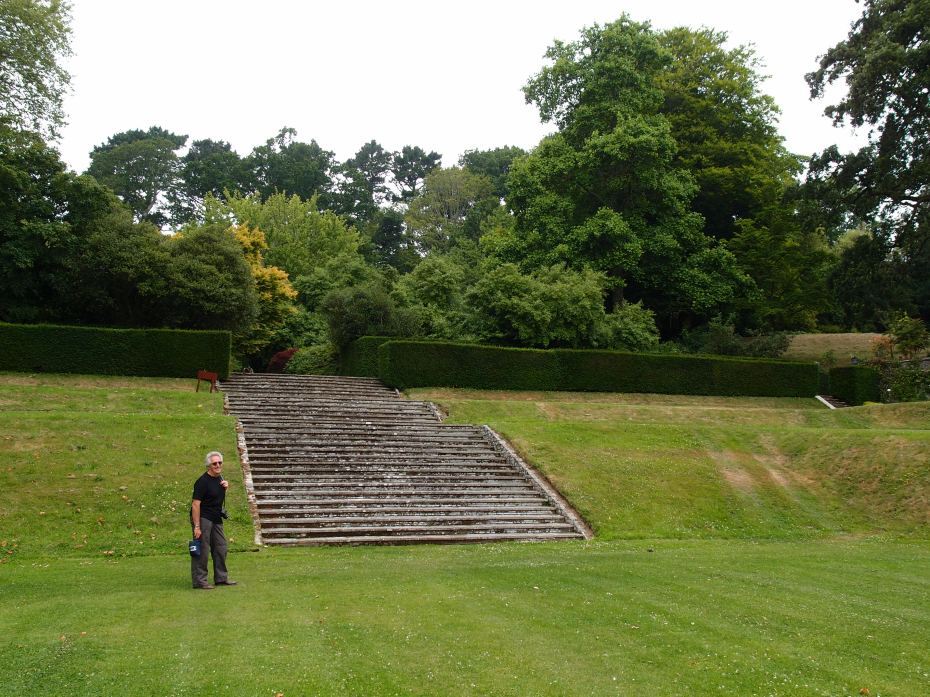 David, supplying human scale, at the north end of the Tiltyard. This flight of steps leads up to the Swan Fountain Terrace.