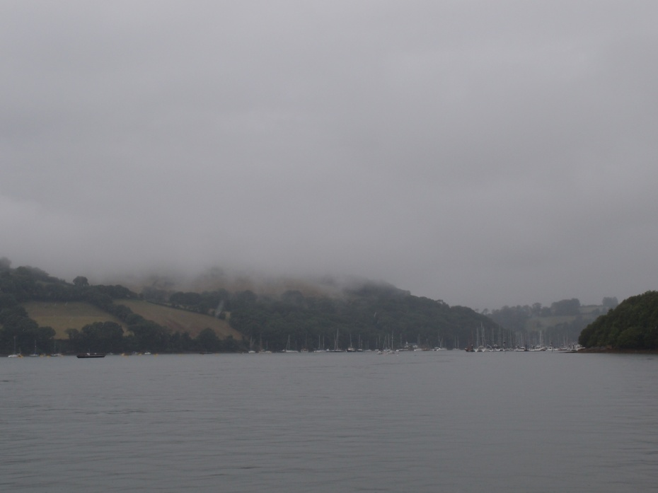 Rain and Fog, as we crossed the River Dart on Dartmouth's Higher Ferry