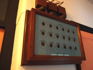 In the Servants' Corridor: The Electric Bell Board is original, and still in working order.