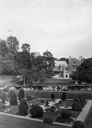 In the 19th century, walkways and shrubbery covered the bottom of the Tiltyard. Image courtesy of Dartington Hall.
