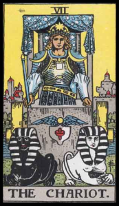 "The Chariot, Card VII of the Tarot. Per Niki: ""The Chariot represents Victory. It is the card of triumph over adversaries, over problems. In the card lies an inherent danger. At the moment of triumph, one must be most vigilant because one is most fragile."""