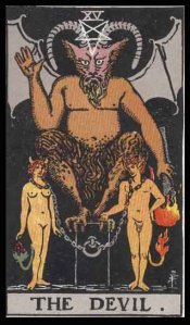 "The Devil, Card XV of the Tarot. Per Niki: ""Card of Magnetism, Energy and Sex. The Devil also represents the loss of personal freedom through addiction of any kind. It scared me working on this card. I had visions of hundreds of devils swarming around the Sphinx, afraid they might attack me."""