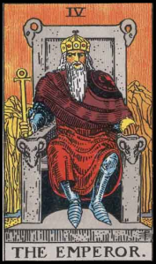 "The Emperor, Card IV of the Tarot. Per Niki: ""The Emperor is the card of masculine power, for good or for bad. The Emperor is the symbol of organization and aggression. He has brought us science and medicine but also weapons and war. He represents the Patriarch or male protector. He also desires to control and conquer."""