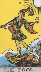 "The Fool, Card Zero, of the Tarot. Niki saw herself as The Fool in this Garden. She wrote: ""The Fool in the tarot deck is as strong as all the other cards put together. Why? Because he represents man on his spiritual quest. No knowing where he is going, the Fool is ready to discover. He is the hero of the Fairy tales who appears dim witted but is able to find the treasure where others have failed. The Fool has few possessions. He travels light."""