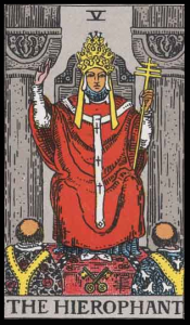 "The Hierophant, Card V of the Tarot. Per Niki: ""Through this card one acquires knowledge of a sacred nature. He represents a teacher, a guru, a prophet, or a Pope."""