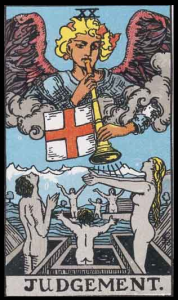 "Judgement, Card XX of the Tarot. Per Niki: ""In this card three figures rise from a tomb. That of the child, the middle aged, and the old-aged. They represent the three parts of ourselves that must merge into one. The angel urges us not to judge others, but to unite ourselves, rise up and become one."""