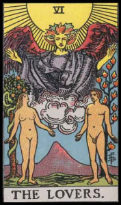 "The Lovers (sometimes called The Choice), Card VI of the Tarot. Per Niki: ""Adam and Eve were the first couple and made the first choice. The card implies there is a wrong and a right choice. A mistake can bring one closer to the truth of ourselves."""