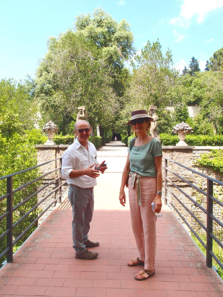 Steady Driver Anacleto, and Esteemed Guide Vannella, at the entrance to the splendid gardens of Villa Farnese at Caprarola ( built in the mid 1500s, and which we'll explore at length in a future Diary) .