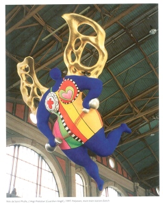 Niki de Saint Phalle's L'ANGE PROTECTEUR. This enormous sculpture of painted polyester, which weighs 1.2 tons and is more than 36 feet high, hangs in the rafters of Zurich's main railway station, and was made in 1997 by Niki to guard travelers. Image courtesy of Il Fondazione Giardino Dei Tarocchi.
