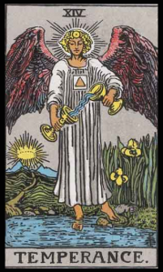 "Temperance, Card XIV of the Tarot. Per Niki: ""I had great difficulty understanding this card. It was too far from my passionate nature. Temperance seemed to me to be a compromise. A middle road. One day a light dawned. Temperance is the Right Way. I made an angel of this card which crowns the Chapel."""
