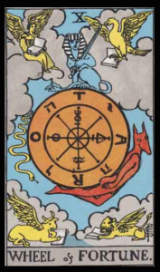 "The Wheel of Fortune, Card X of the Tarot. Per Niki: ""An age old symbol for the wheel of life. What goes up must come down. One day walking in the garden: Eureka! I had the idea of asking Jean Tinguely to make the wheel…into a fountain [with] the water flowing from the High Priestess."""
