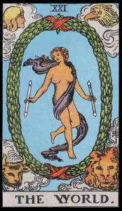 "The World, Card XXI of the Tarot. Per Niki: ""The World is the card of the splendor of interior life. It is the last card of the Major Arcana. It is the answer to the Sphinx."""